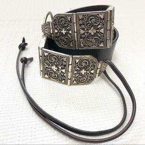 Brighton Black and silver belt size L